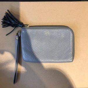 Fossil Grey Leather Zipper Wallet/ Wristlet